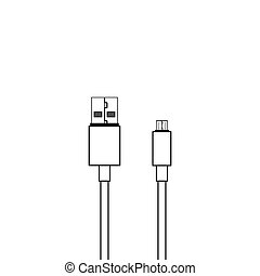 mikro, vektor, usb kabel, ikone