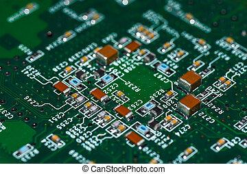 mikrochips, radioelements, prozessor, auf, der, elektronischer ausschuß, hauptplatine