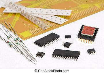 mikroelektronik, element, und, brett