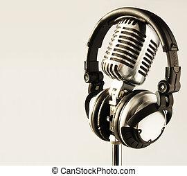 mikrofon, és, fejhallgató