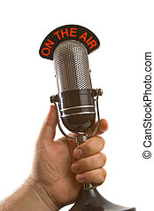mikrofon, alatt, kéz