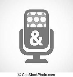 mikrofon, ampersand, odizolowany, ikona