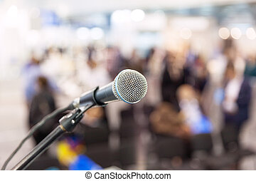 mikrofon, audience., fokusera, mot, suddig, nyheterna, conference.