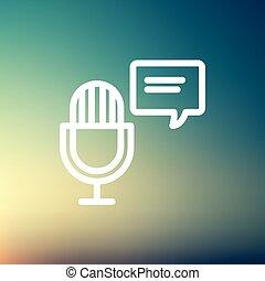 mikrofon, beszéd, sovány megtölt, buborék, ikon
