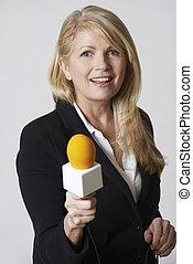 mikrofon, biały, dziennikarka, tło, samica