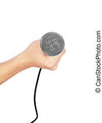 mikrofon, biały, odizolowany, ręka