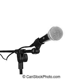 mikrofon, biały, odizolowany
