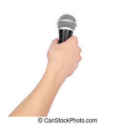 mikrofon, biały, odizolowany, tło, ręka