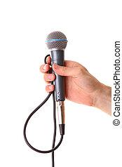mikrofon, biały samczyk, odizolowany, ręka