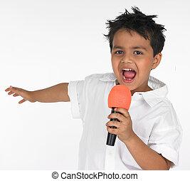 mikrofon, chłopiec, jego, śpiew