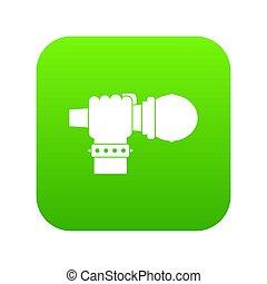 mikrofon, cyfrowy, zielony, ręka, ikona