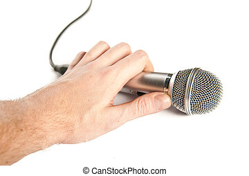 mikrofon, człowiek, dzierżawa ręka
