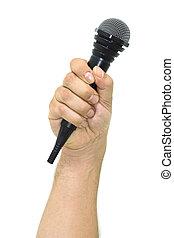mikrofon, czarnoskóry, białe tło, ręka