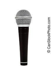 mikrofon, czarnoskóry, białe tło, srebro