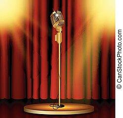 mikrofon, czerwone firanki, rusztowanie