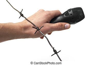 mikrofon, drut, haczykowaty, ręka