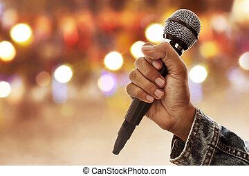 mikrofon, dzierżawa ręka