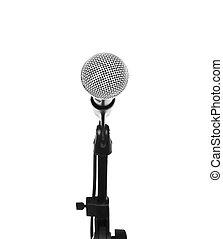 mikrofon, elszigetelt, áll, háttér, fehér, kapcsoló