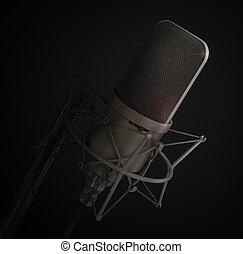 mikrofon, elszigetelt, alatt, a, studio., örömöt szerez,...