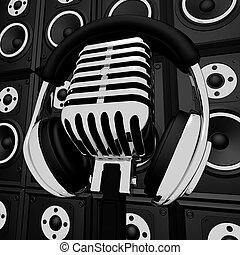 mikrofon, fejhallgató, szórakozás, kiállítás, zenész, ...
