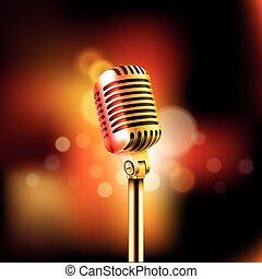 mikrofon, fogalom, illustration., előadás, vektor, standup, ...