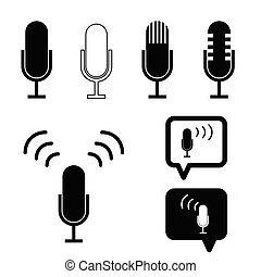 mikrofon, forntida, illustration, sätta, svart, ikon