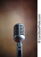 mikrofon, gammal, retro
