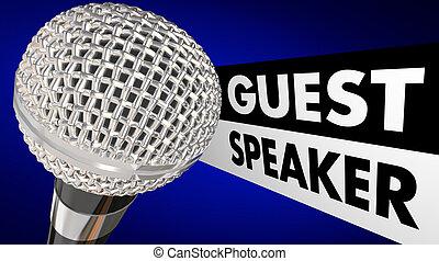 mikrofon, gość, wprowadzanie, ożywienie, mówiący, słówko