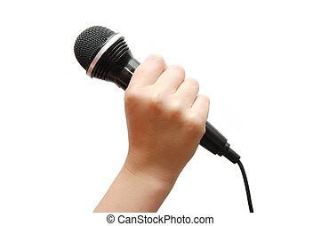 mikrofon, háttér, kezezés kitart, fehér, woman\'s