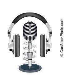 mikrofon, hörlurar, vektor, bakgrund, witn, vit