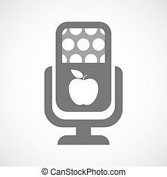 mikrofon, ikona, jabłko, odizolowany