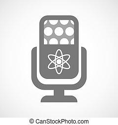 mikrofon, ikona, odizolowany, atom