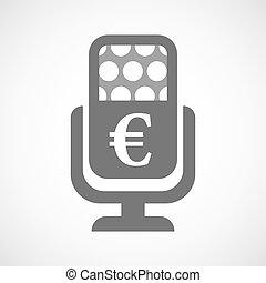 mikrofon, ikona, odizolowany, euro znak