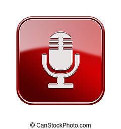 mikrofon, isolerat, glatt, bakgrund, vit röd, ikon