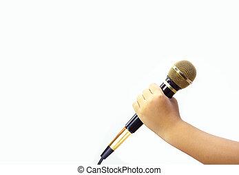 mikrofon, kéz, háttér., birtok, fehér, kölyök