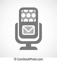 mikrofon, koperta, odizolowany, ikona