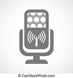 mikrofon, odizolowany, antena, ikona