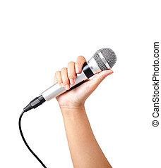 mikrofon, odizolowany, ręka, white., samica, utrzymywać