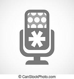 mikrofon, odsyłacz, odizolowany, ikona
