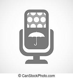 mikrofon, parasol, odizolowany, ikona