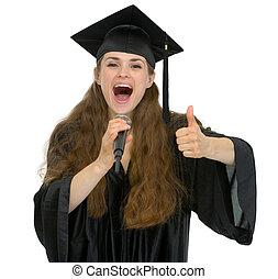 mikrofon, pokaz, do góry, skala, kciuki, student, dziewczyna, podniecony, rozmawianie