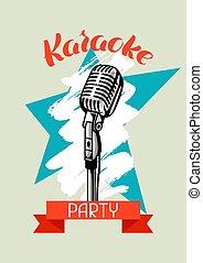 mikrofon, poster., banner., styl, ilustracja, wypadek, muzyka, retro, partia, karaoke