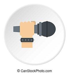 mikrofon, ręka, koło, ikona