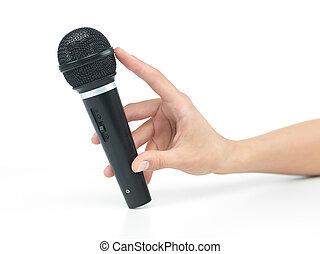 mikrofon, ręka