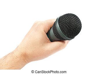 mikrofon, ręka., odizolowany, tło., biały, karaoke