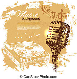 mikrofon, retro, bryzg, ręka, kropelka, muzyka, projektować, tło., rocznik wina, illustration., pociągnięty