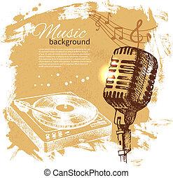 mikrofon, retro, loccsanás, kéz, folt, zene, tervezés, háttér., szüret, illustration., húzott