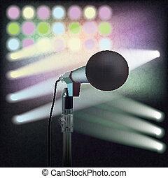 mikrofon, rusztowanie, abstrakcyjny, tło, retro