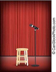 mikrofon, rusztowanie, krzesło, okrągły, pokaz