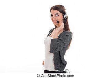 mikrofon, słuchawki, stoi, boczne drogi, szary, młody, marynarka, jedzeni, dziewczyna, ręka